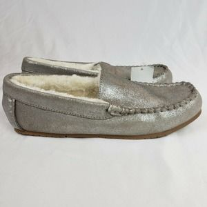 Lands End Suede Moccasin Slippers Glitter Grey NWT